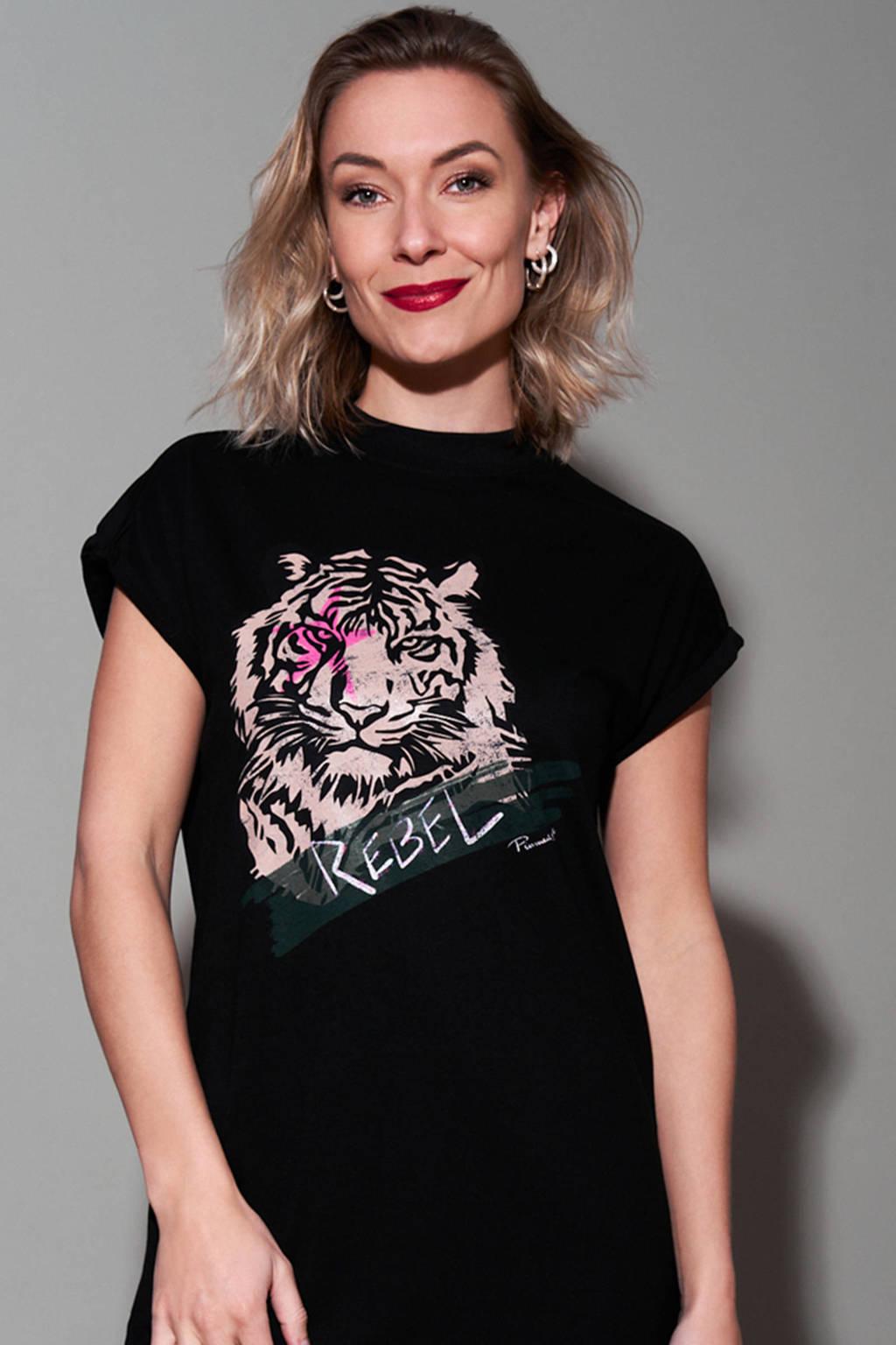 Pinned by K T-shirtjurk Tiger Rebel met printopdruk zwart, Zwart