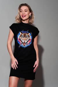 Pinned by K T-shirtjurk Tiger met printopdruk zwart, Zwart