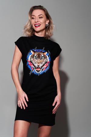 T-shirtjurk Tiger met printopdruk zwart