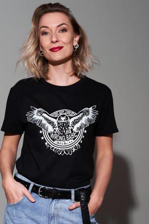 T-shirt Prove them wrong met printopdruk zwart