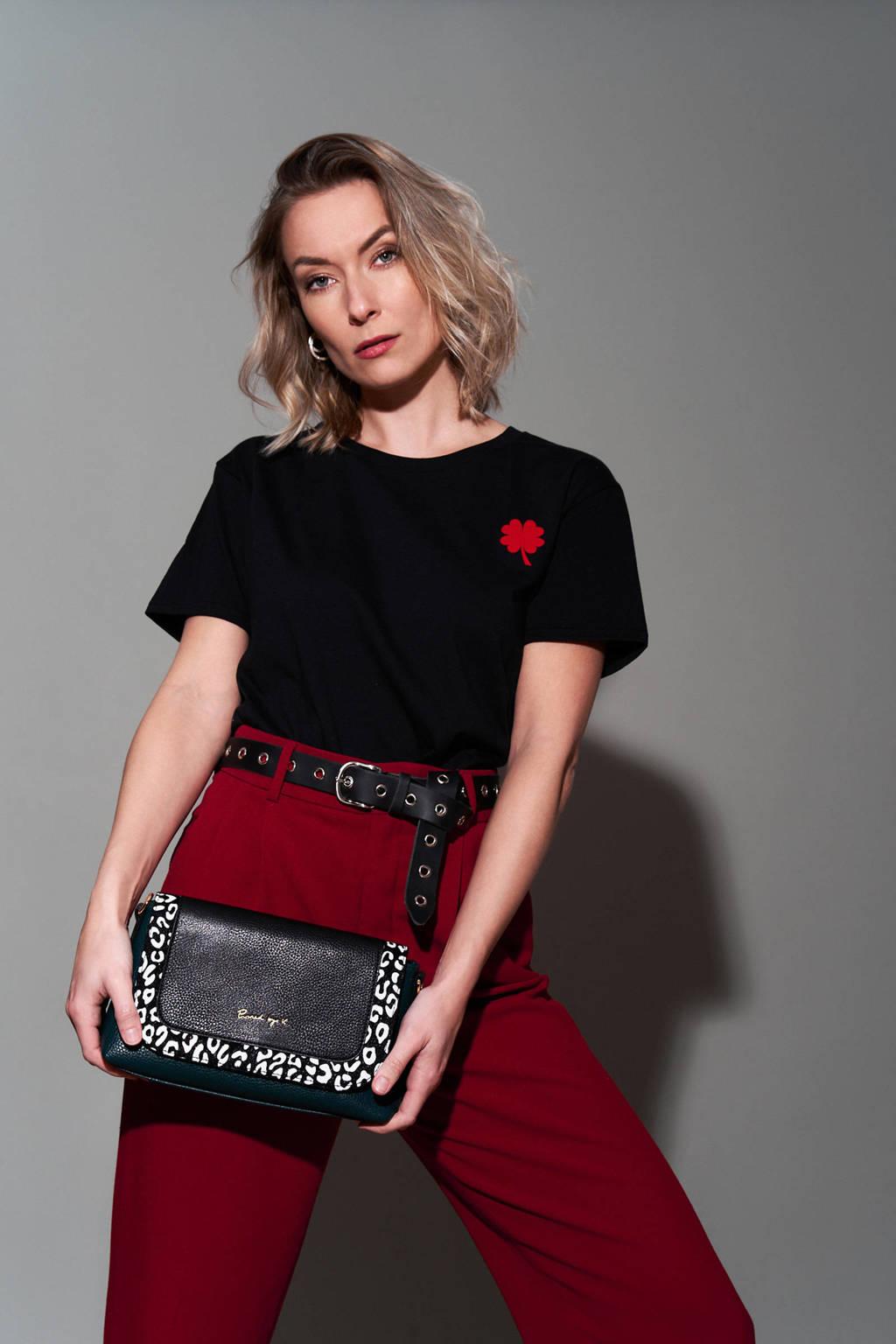 Pinned by K T-shirt Red Clover met printopdruk zwart, Zwart