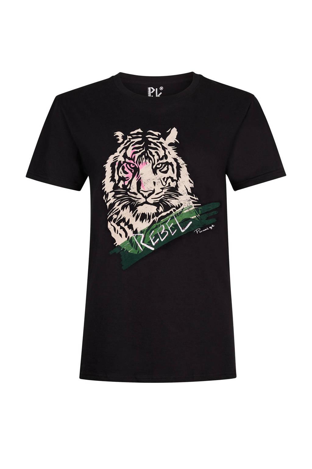Pinned by K T-shirt Rebel Tiger met printopdruk zwart, Zwart
