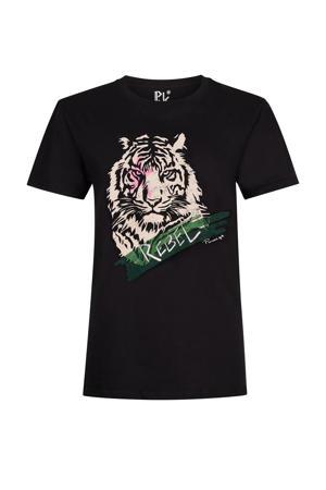 T-shirt Rebel Tiger met printopdruk zwart