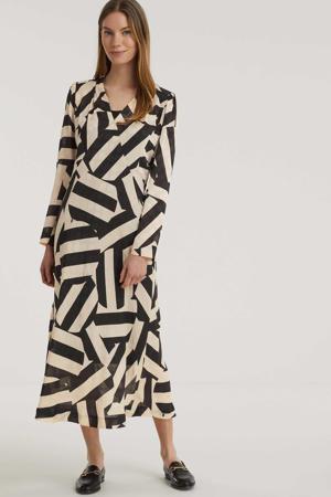 maxi jurk Babette met all over print beige/zwart
