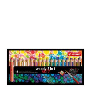 Woody 3 in 1 ARTY met puntenslijper en penseel (18 st.)
