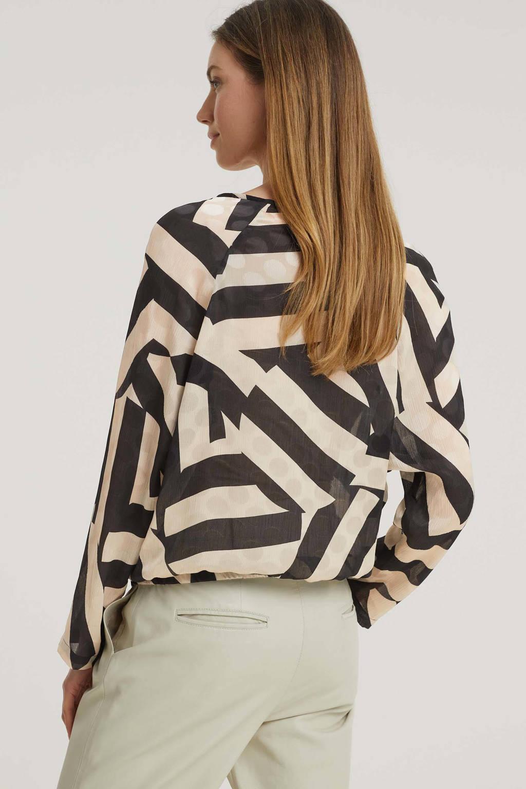Expresso top Batya met all over print beige/zwart, Beige/zwart