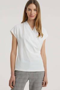 Expresso top Bcarlijn van travelstof met plooien wit, Wit