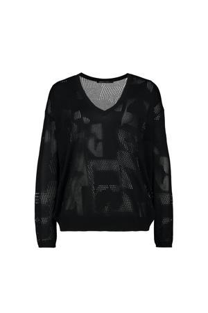 trui Bauke met all over print zwart