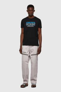 Diesel regular fit T-shirt met logo zwart, Zwart