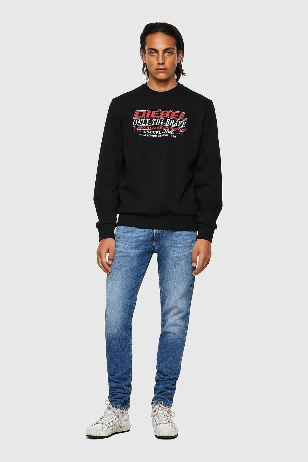 Diesel sweater S-girk met tekst zwart, Zwart