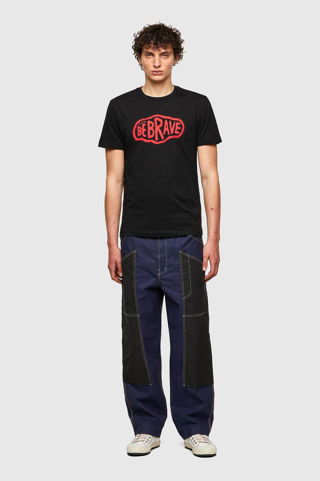 Diesel regular fit T-shirt met printopdruk zwart/rood, Zwart/rood