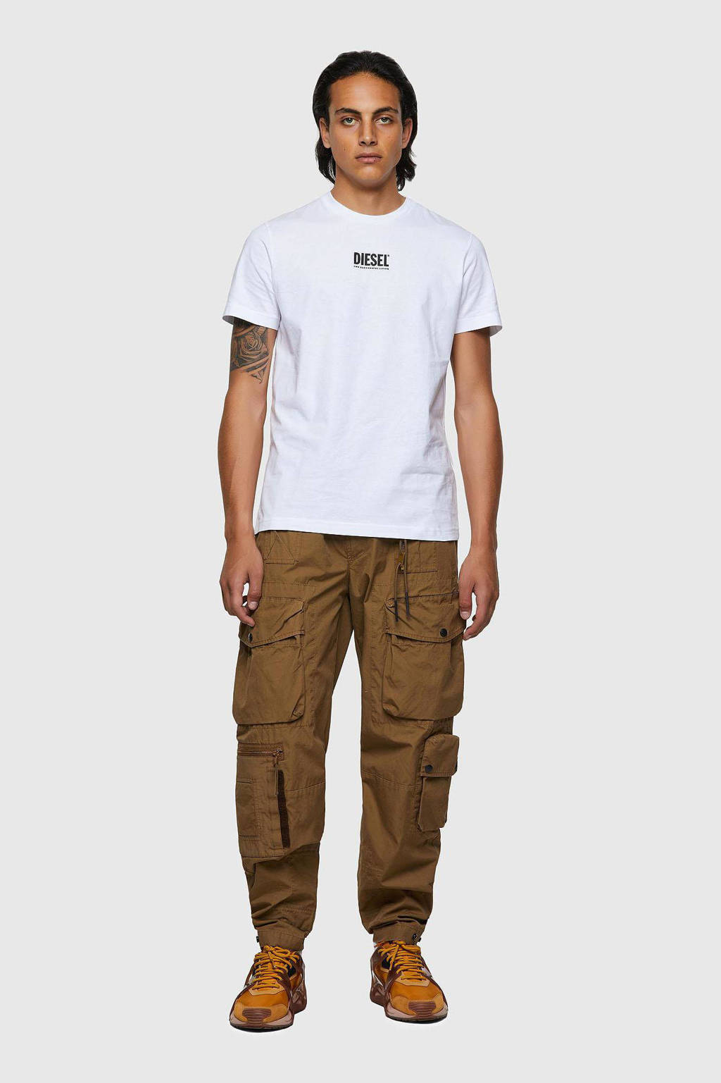 Diesel regular fit T-shirt met logo wit, Wit