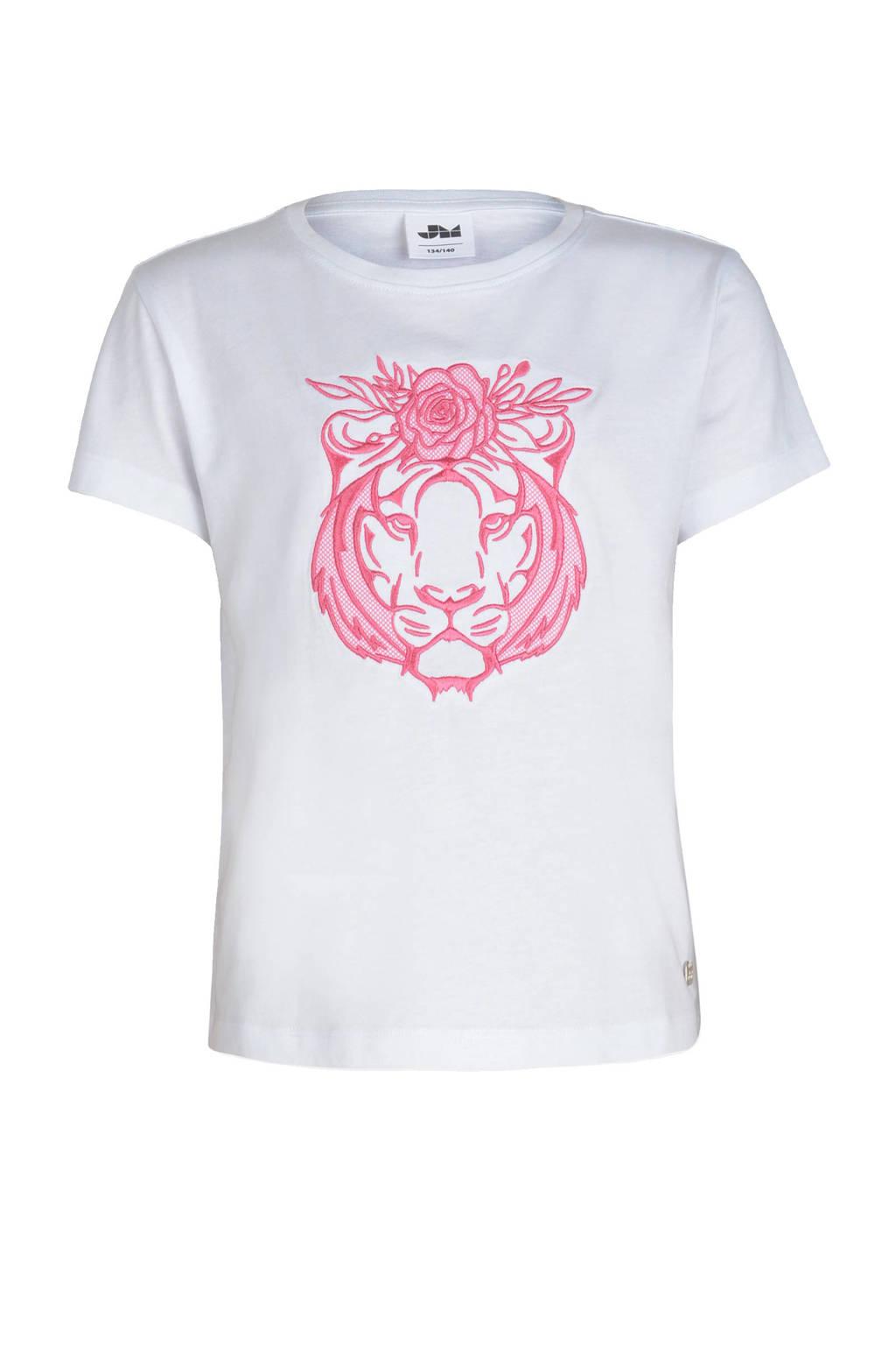 Jill & Mitch by Shoeby T-shirt met dierenprint wit/roze, Wit/roze