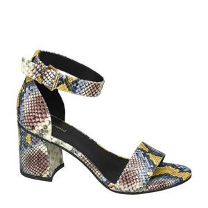 sandalettes met slangenprint geel/multi