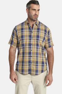 Charles Colby geruit loose fit overhemd Duke LOGAN Plus Size geel/blauw, Geel/blauw