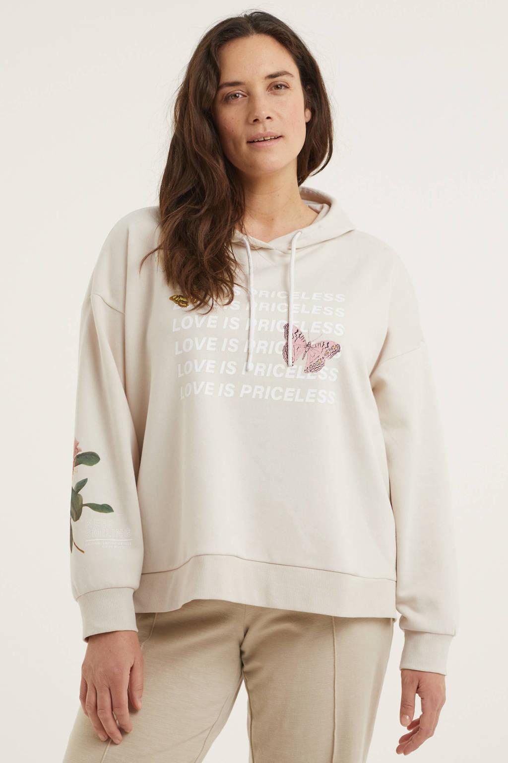 C&A XL Clockhouse hoodie met tekst beige, Beige