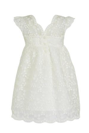 gebloemde baby jurk ecru