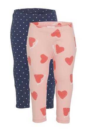 baby legging met all over print roze/blauw - (set van 1)