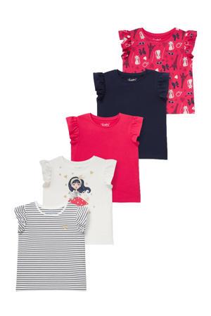 T-shirt - set van 5 wit/rood/donkerblauw