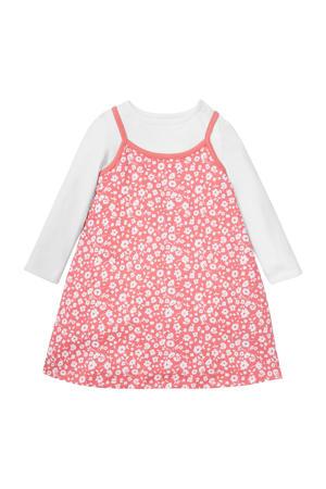 newborn baby jurk + longsleeve rood/wit