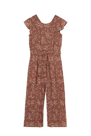 gebloemde jumpsuit bruin