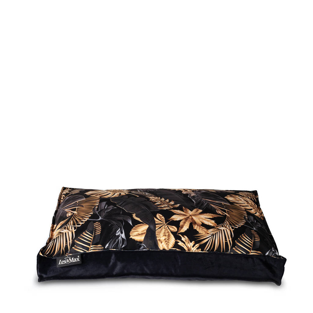 Lex&Max Dubai - Hondenkussen - Boxbed - 75x50x9cm - Zwart/Goud, Zwart / goud