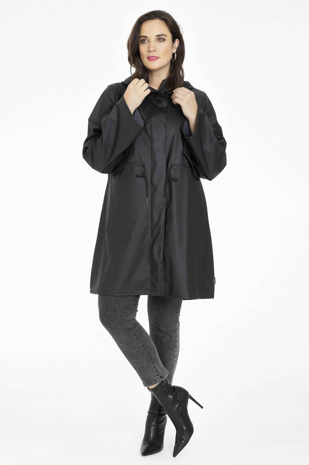 Yoek waterafstotende regenjas zwart, Zwart
