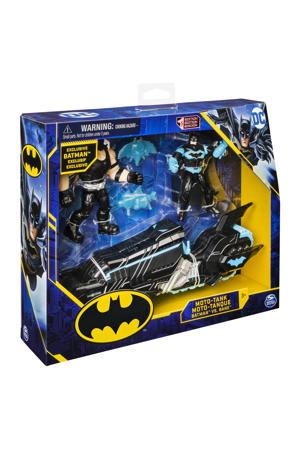 Batcycle voertuig met exclusieve Batman en Clayface-actiefiguren van 10 cm