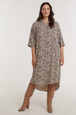 jurk met all over print ecru/donkerrood
