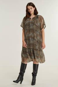 No.1 by OX semi-transparante jurk met dierenprint en volant bruin/zwart/wit