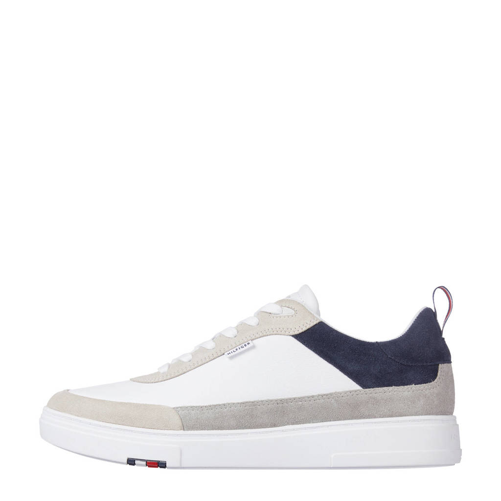 Tommy Hilfiger Modern Cupsole Leather Mix  sneakers wit/beige/blauw