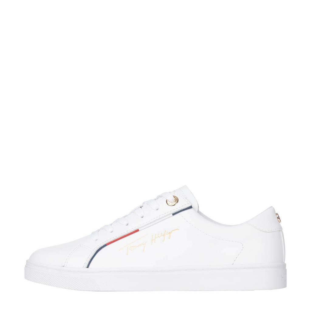 Tommy Hilfiger Signature  leren sneakers wit, Wit