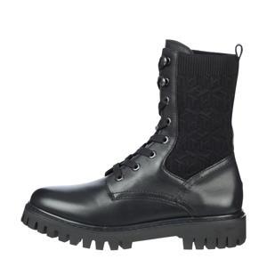 TH Knitted Flat Boot  leren veterboots zwart