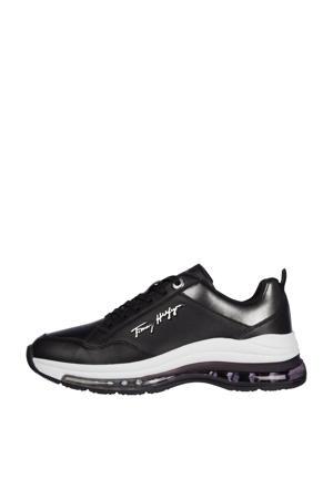 City Air Runner Metallic  leren sneakers zwart/zilver