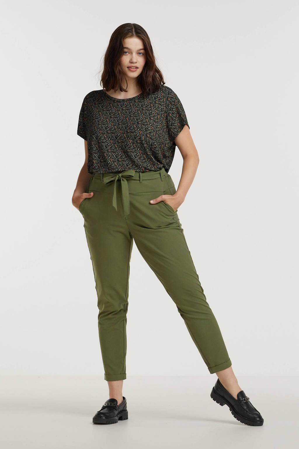 Zoey T-shirt JAYDA met all over print en plooien zwart/groen/roodbruin, Zwart/groen/roodbruin