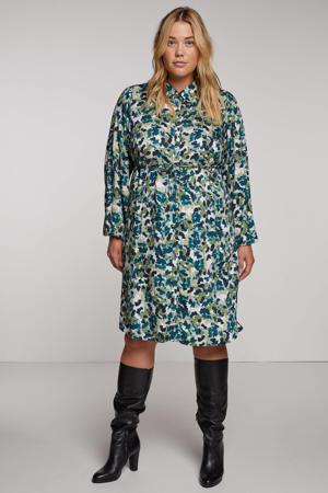 jurk DANNA  met all over print petrol/lichtgroen/wit