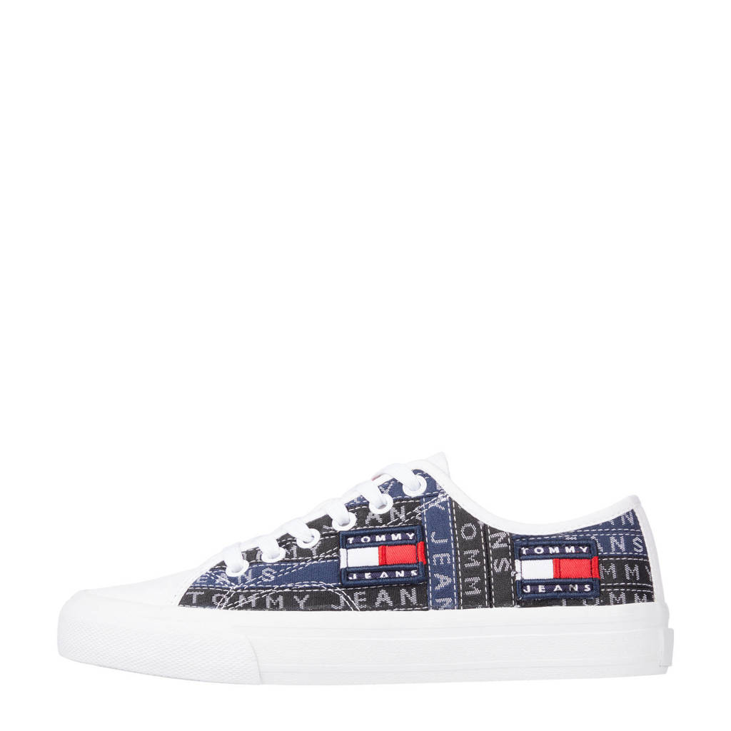 Tommy Jeans Premium Label  sneakers zwart/blauw/wit, Zwart/blauw/wit