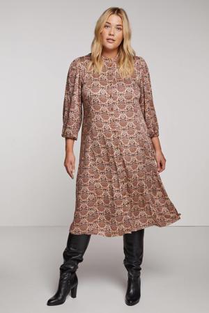 jurk CORALINE  met paisleyprint lichtroze/donkerbruin/oranje