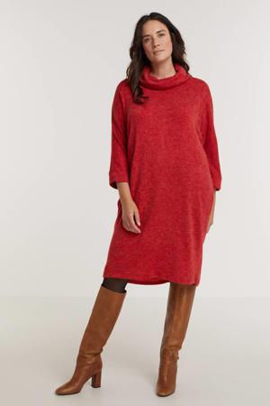 gemêleerde fijngebreide jurk PENELOPE  rood