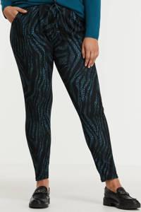Zoey skinny broek EDITH PANTS met zebraprint blauw/zwart, Blauw/zwart