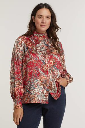 blouse MARGOT  met paisleyprint rood/multi