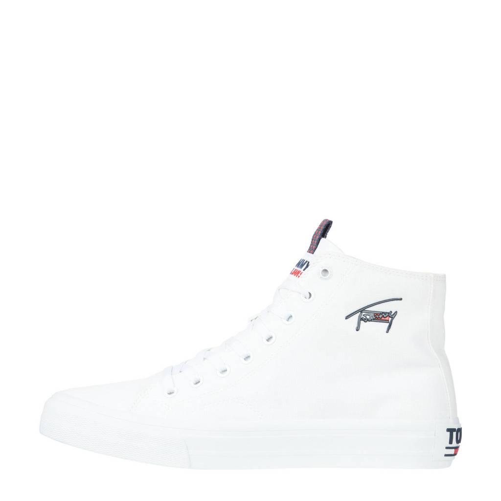 Tommy Jeans Long Lace Midcut Vulc TJM  hoge sneakers wit, Wit