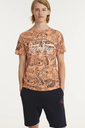 T-shirt met all over print shell coral
