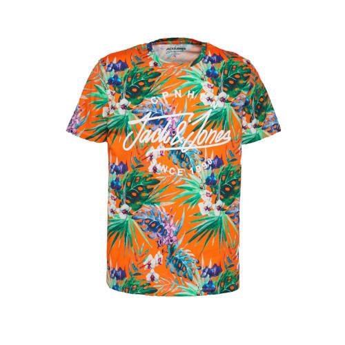 JACK & JONES ORIGINALS T-shirt Dex met all over print oranje