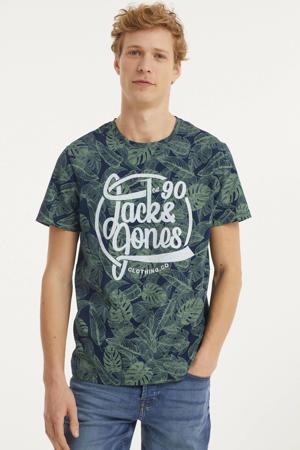 T-shirt met all over print navy blazer