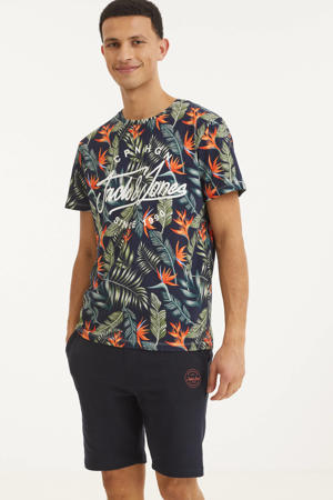 T-shirt Dex met all over print donkerblauw