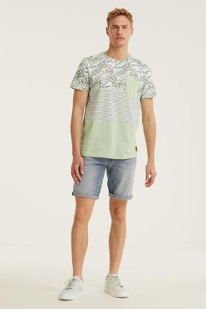 T-shirt Mixer met all over print mintgroen