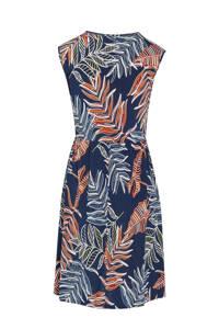Cassis jurk met bladprint en ceintuur marine, Marine