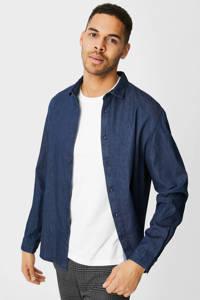 C&A slim fit denim overhemd donkerblauw, Donkerblauw
