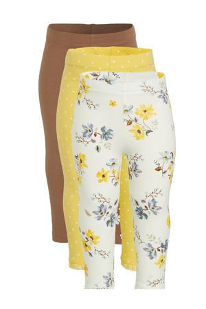 legging - set van 3 uni/bloemen geel/ecru/bruin